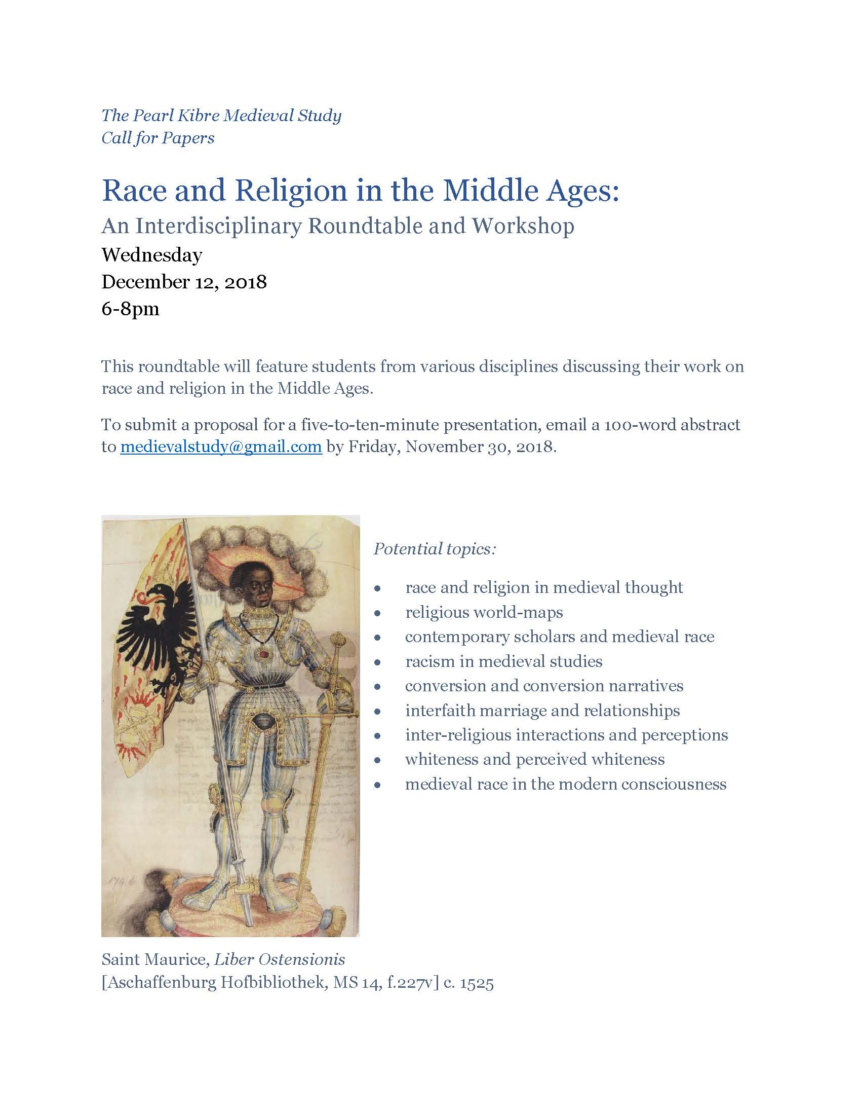 Due Nov 30 | CfP – Race and Religion in the Middle Ages roundtable